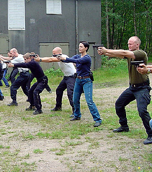 Image of people training in security